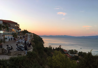 View of Afytos at sunset, Halkidiki, Greece