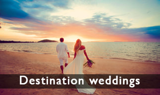 Destination weddings - photo bride and groom on beach at sunset