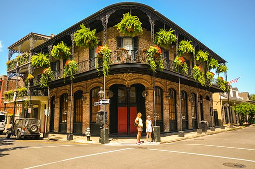 House with balconies, Bourbon Street, New Orleans, USA