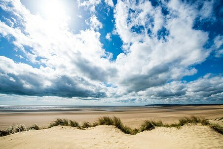 Sunshine through the clouds over Camber Sands