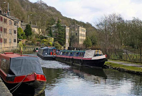 Barges on the canal at Hebden Bridge