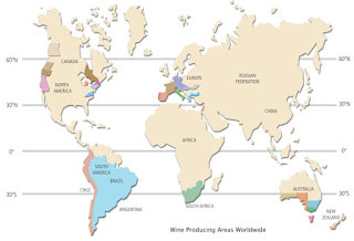 Map of the wine regions of the world